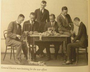 GE Men knitting for war effort
