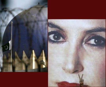 Half mast flag and Benazir Bhutto