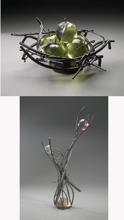 Robert Gardner Glass sculpture Apples and Cradle