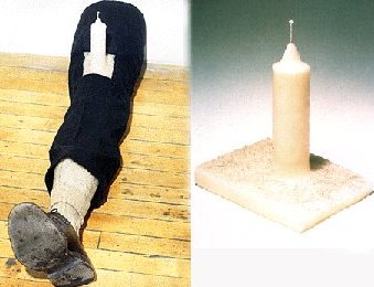 Leg with Candle by Robert Gober