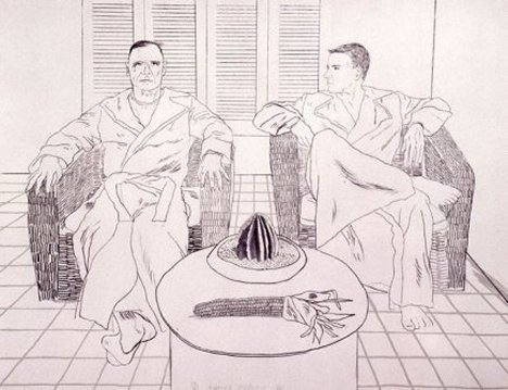 David Hockney Ink Drawings Chris And Don by David Hockney