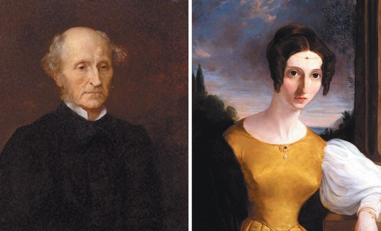 John Stuart Mill and Harriet Taylor; paintings by George Frederic Watts, 1873, and an unknown artist, circa 1834
