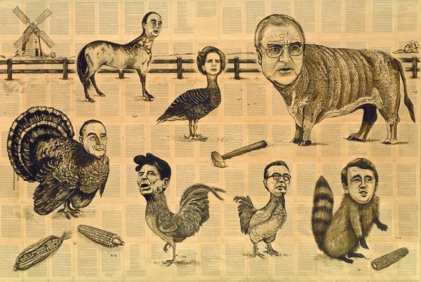 Animal Farm - G7 1989-92 by Tim Rollins born 1955